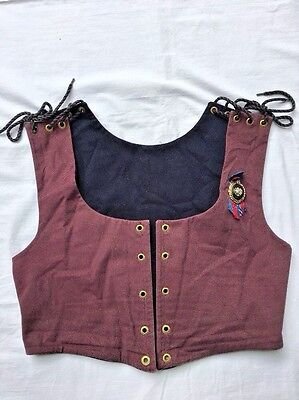 Renaissance Medieval Corset Reversible Peasant Bodice Brown Black Pirate Wench