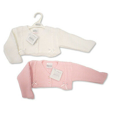 KNITTED BABY BOLERO STYLE CARDIGANS WHITE/PINK NB, 0-3, 3-6 months