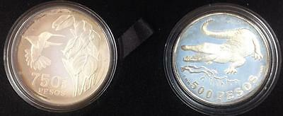 1978 Colombia 2 Coin Silver Wildlife Proof Set Silver 500 & 750 Pesos