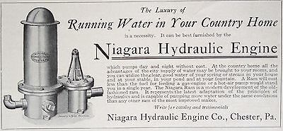 1903 Ad(F26)~Niagara Hydraulic Engine Co. Chester, Pa. Water For Country Homes