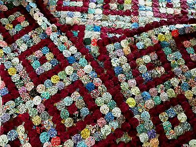 Queen Sz Vintage Yo Yo Quilt~Feedsack,people,boats,children,dogs~Made/maine~Mint