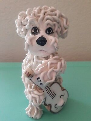 "Made in Italy - spaghetti poodle Dog Figurine Vintage 1950's ~ 7"" CELLO guitar"