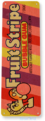 TIN SIGN B718 Fruit Stripe Bubble Gum Chewing Gum Retro Food Candy Metal Decor