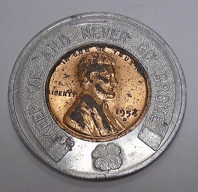 Encased Good Luck 1954 D Lincoln Cent Welcome Abc Bowlers 1955 Fort Wayne
