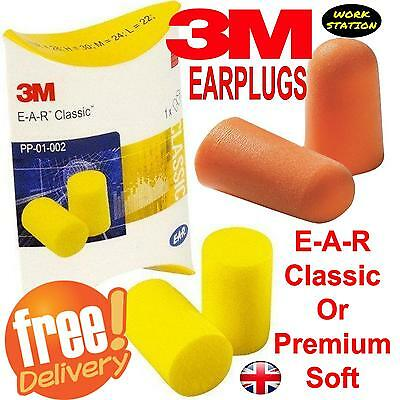 3M Earplugs Soft Foam Ear Plug Defenders for Noise Snoring Work Sleep FREEPOST