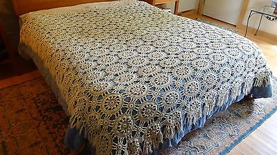 """Beautiful Hand Crocheted Off-White Coverlet/ Bedspread, 76"""" x 86"""""""