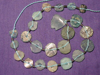 Ancient Roman C.200 BC Glass Fragment Beads STrand  ###B5357##