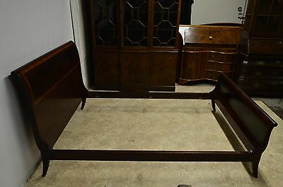 John Widdicomb (unmarked)  Mahogany Banded Full Size Sleigh Bed