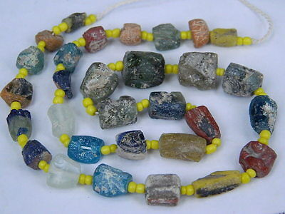 Ancient Roman C.200 BC Glass Fragment Beads STrand  ###I703###