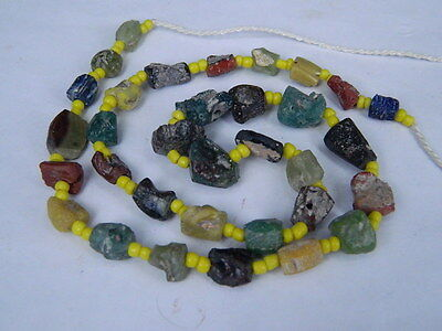 Ancient Roman C.200 BC Glass Fragment Beads STrand  ###I700###