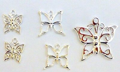Butterfly Charm Bead Jewellery Craft Findings Bright Silver Plated