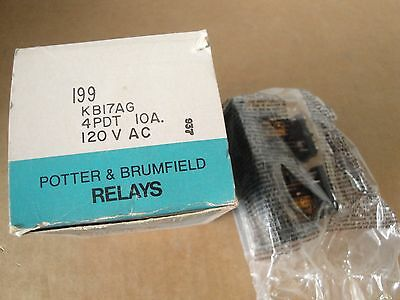AMF Potter Brumfield KB17AG 4PDT 10A 120VAC DUAL COIL LATCHING RELAY New In Box