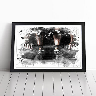 Framed Picture Print Black A2 Body Building Fitness Weights 2 V3 Sport Wall Art