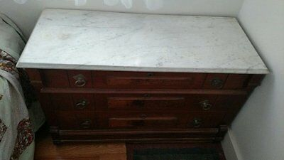 """Early 1900""""s Mahogany Dresser with Marble Top"""