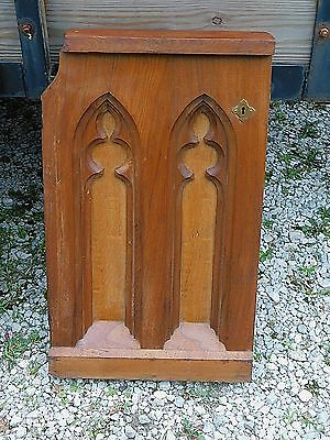 Catholic Antique Church wood carved Gothic Arched Communion Architectural door