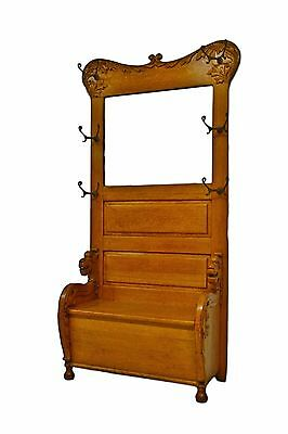 Antique  Oak Hall Tree w. Mirror Rack Seat Bench Stand