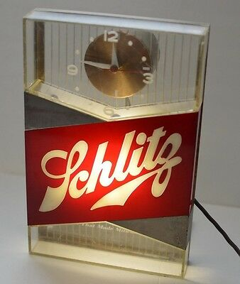 Schlitz beer sign lighted clock 1959 vintage bar light cash register topper