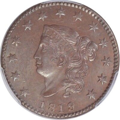 1819 1C Coronet Head Cent PCGS MS62BN CAC, Small Date