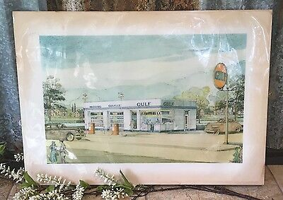 "1940s Gulf Station Architectural Rendering Salesman Sample, 21"" x 15"""