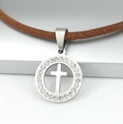 Silver Stainless Steel Crystal Celtic Cross Pendant Brown Leather Cord Necklace