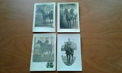 4 RPPC WWI Soldier & Horse Postcards Military France French