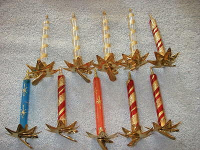 Christmas Glass Candles - Clip on Candles marked Italy lot of 10