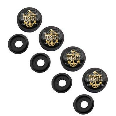 4 Black License Plate Frame Tag Screw Snap Cap Covers GOLD NAVY USN ANCHOR H070