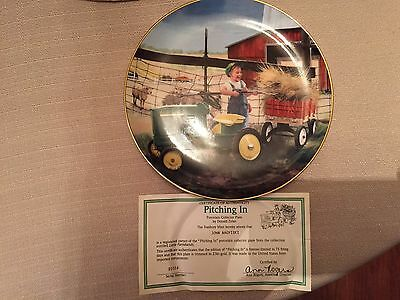 Danbury Mint Plate, Little Farmhands limited edition Pitching In,country,tractor