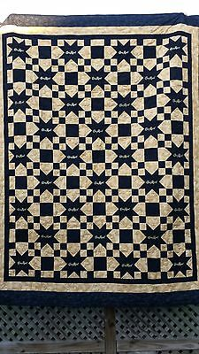Black and Gold Crown Royal quilt 70x86