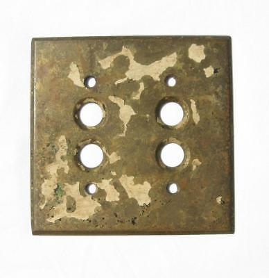 Antique Solid Brass Double Push Button Light Switch Cover Plate Perkins 1903 Pat
