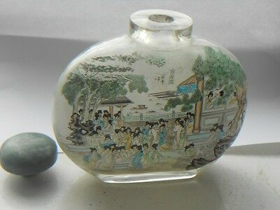 Rare Chinese inside painted crystal snuff bottle - over sized, signed &dated