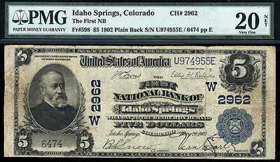 $5 1902 PB The First National Bank of Idaho Springs, Colorado PMG 20N GREAT SIGS