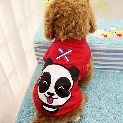 Cartoon Small Dog Vest Summer Puppy Clothes Soft Cotton Dog T Shirt S Red