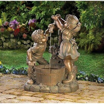 Beautiful Outdoor Water Fountain, Boy & Girl Playing Garden Fountain, Home Decor