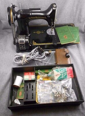 Vintage 1947 Singer 221-1 Featherweight Sewing Machine with Case & Accessories