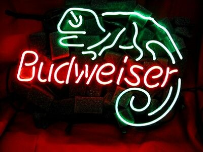 BUD WEISER Man Cave Beer Bar Vintage NEON LIGHT SIGN LIZARD Window Wall Room