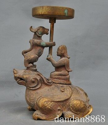 """8""""old china palace bronze 24K gold people beast statue Candlestick Candle holder"""
