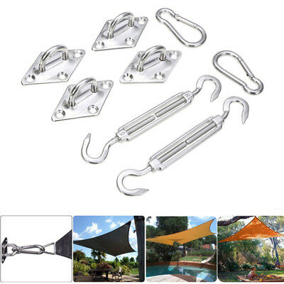 8pcs Stainless Steel Sun Shade Sail Hardware Kit Set Accessory Triangle Sails