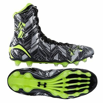 $130 Mens Under Armour Highlight MC Football LAX Lacrosse Cleats BLACK SILVER 12