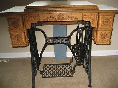 Singer Treadle Sewing Machine Oak Cabinet - Great Condition