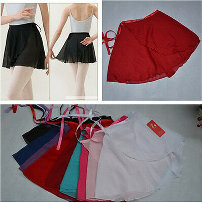 Chiffon  Ballet Leotard Tutu Skirt Dance Skate Wrap Scarf Costume Dress10 Colour