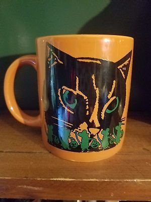 Black Cat Figural Coffee Mug Cup Black Orange White Purple teacup