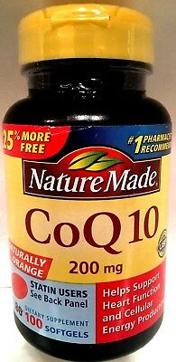 Nature Made CoQ10 200mg Naturally Orange Heart & Cellular Health 100 Softgel NEW