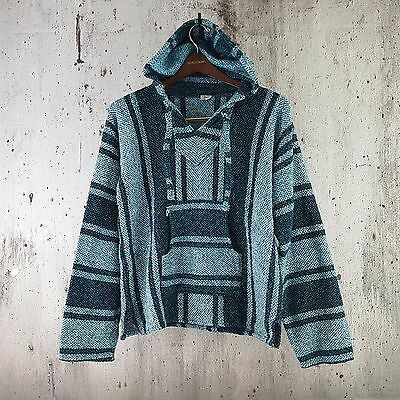 Mexican Drug Rug Baja Hoodie Teal Surfer Pullover Hippie Poncho Sweater Unisex L