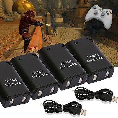 4x New 4800mAh Rechargeable Battery Pack + Charge Cable for Xbox 360 Controller