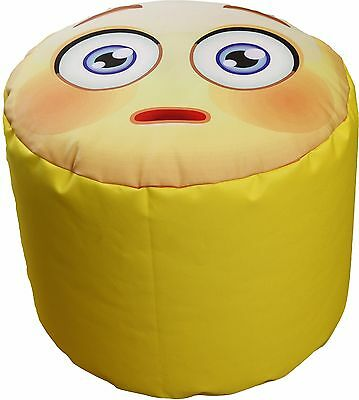 Pouf Bean Bag Tondo Per Interno Emoj Emoticons Spavento