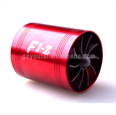 Aluminum Car F1-Z Air Intake Turbonator Double Fan Turbine Turbo Gas Fuel Saver