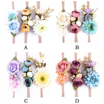 3 Pcs Newborn Baby Girls Infant Toddler Kids Headband Flower Hair Band Headwear
