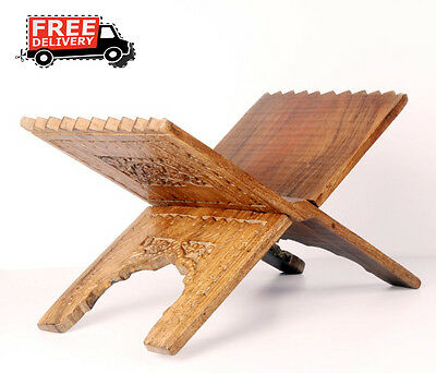 Old Wooden Big Floral Engraved Handcrafted Book Stand, Collectible 8579