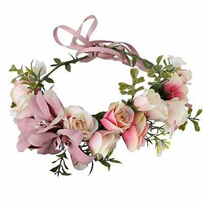Floral Crown Wedding Hair Wreaths Bohemia Big Lilies Hair Bands (Cameo brown)